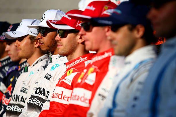 Nico Rosberg of Germany and Mercedes GP Lewis Hamilton of Great Britain and Mercedes GP Sebastian Vettel of Germany and Ferrari Kimi Raikkonen of...