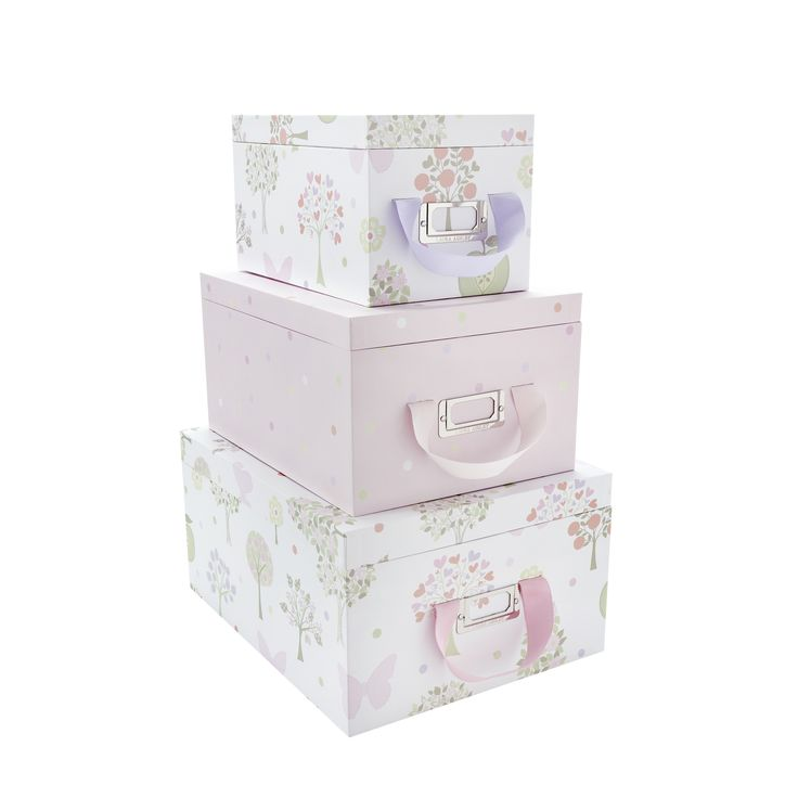Gentil Girls Esme Pink/Multi Storage Boxes With Lids, Laura Ashley