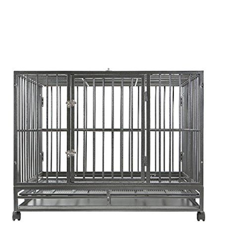 """Dog Crate Kennel - Heavy Duty Pet Cage Playpen w/ Metal Tray Pan (48"""" XXL, silver)"""