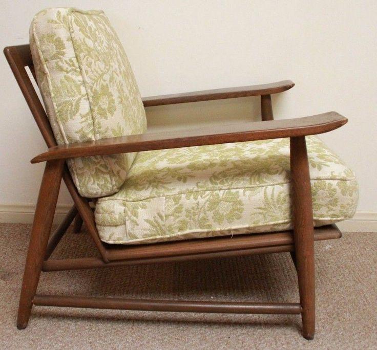 heywood wakefield mid century modern lounge chair furniture danish armchair wood