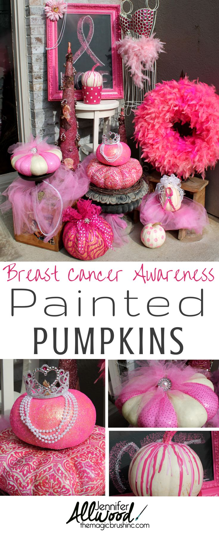 Paint a pink pumpkin for October's Breast Cancer Awareness Month! More fall decorating ideas and pumpkin painting inspirations at theMagicBrushinc.com