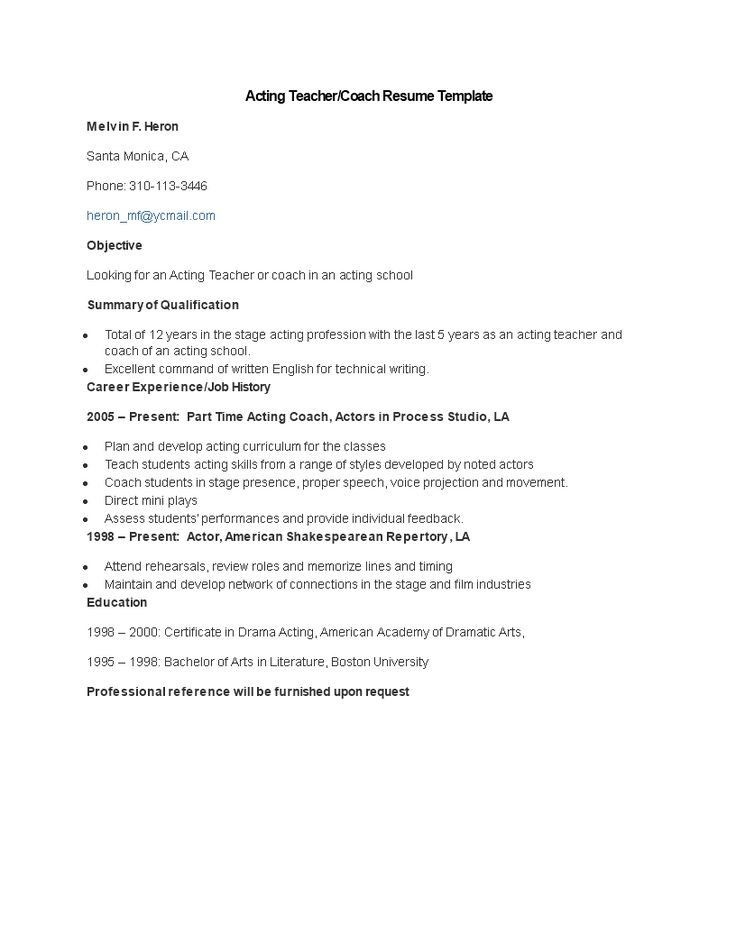 Acting Teacher Coach Resume - Acting Teacher Coach Resume - coaching resume template