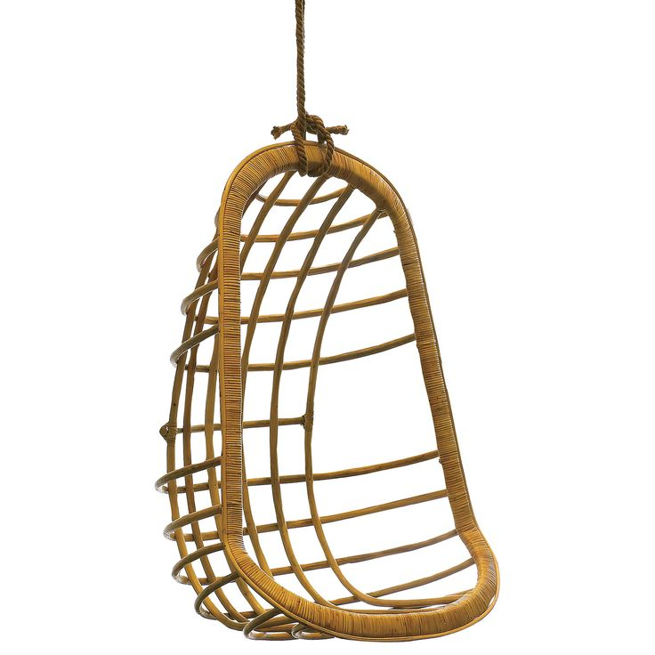 A soothing statement for a living room or patio, this rattan hanging chair embodies beachside style. Rich in texture, this beautiful, curvaceous seat catches the…