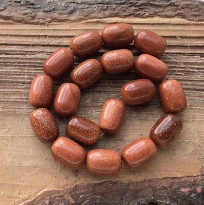 Для украшений ручной работы. Ярмарка Мастеров - ручная работа. Купить Авантюрин 14 мм бочонок коричневый бусины для украшений. Handmade.