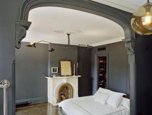 Jenna Lyons Brooklyn Brownstone - The architect's view of the bedroom makes the walls look grey but it's really black chalkboard paint.