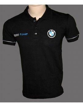 BMW Black T-Shirt With Collar Licra with embroidered logos Worldwide Delivery http://autofanstore.com