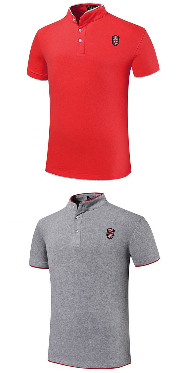 11 Color Mens Embroidery Solid Color Stand Collar Button Summer Plus Size T-shirt Polo Shirt at Banggood