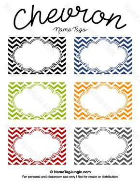 Free printable chevron name tags. The template can also be used for creating items like labels and place cards. Download the PDF at http://nametagjungle.com/name-tag/chevron/
