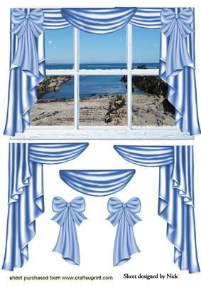 A ROOM WITH A VIEW LOOKING OUT AT CORNWALL BEACH on Craftsuprint - Add To Basket!