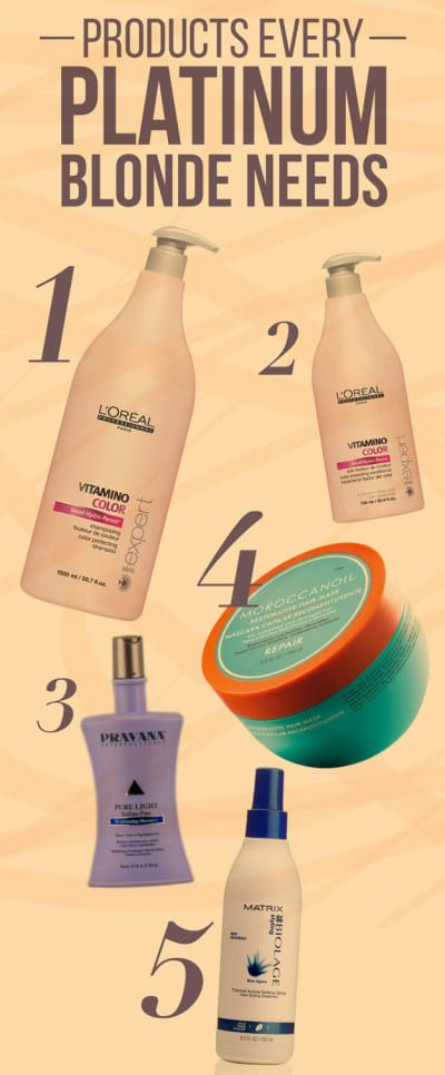 1. Shampoo: L'Oreal Professional Vitamino Color Shampoo, $28.292. Conditioner: L'Oreal Professional Vitamino Color Conditioner, $14.503. Purple Shampoo: Pravana Pure Light Sulfate-Free Brightening Shampoo, $17.104. Protein Mask: Moroccanoil Restorative Hair Mask, $33.995. Heat Protectant Spray: Biolage Thermal Active Setting Spray, $16