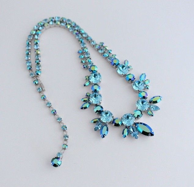 SHERMAN Vintage Signed Necklace Blue Green Zircon and Blue Headlight Chatons | eBay