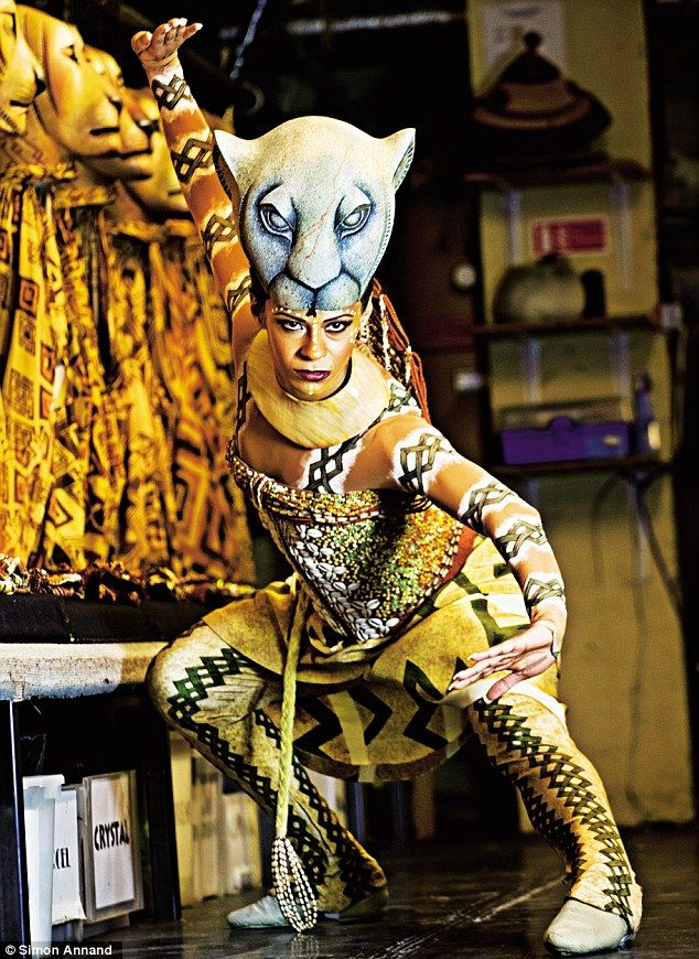 "'The mask is 27cm wide from ear to ear and 26cm high. My three-year-old son loves kissing my mask because it looks like a teddy bear to him,' said Ava - ""Ava Brennan plays lioness Nala in 'The Lion King' at London's Lyceum Theatre"""