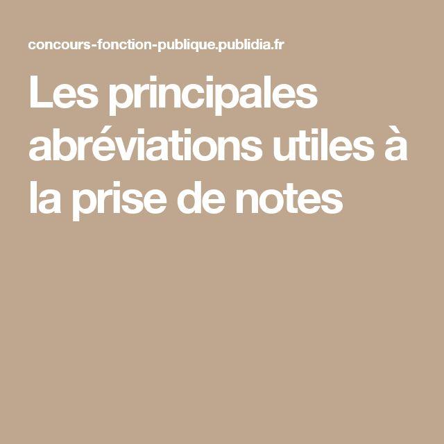 Les principales abréviations utiles à la prise de notes