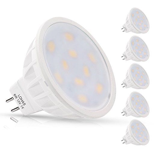(5 PACK Day White)LOHAS® 6Watt MR16 LED Bulbs, 50W Halogen Bulb Equivalent, 12 VAC/DC, 500lm, 120 Degree Beam Angle, 6000K, Spotlight, LED Light Bulbs,Non dimmable