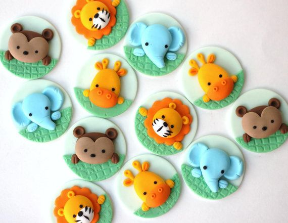 Jungle fondant cupcake topper set. Safari cupcake topper. Fondant animals. Monkey, elephant, lion, tiger giraffe fondant toppers.