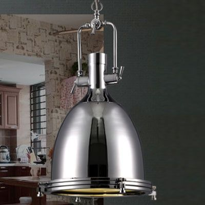 Trendy Chrome Finished Bowl Shaped Large Pendant Lights in Industrial Style