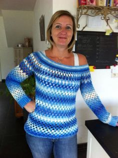 Gehaakte granny stripe trui. Gratis patroon voor een granny stripe trui op Breiclub.nl