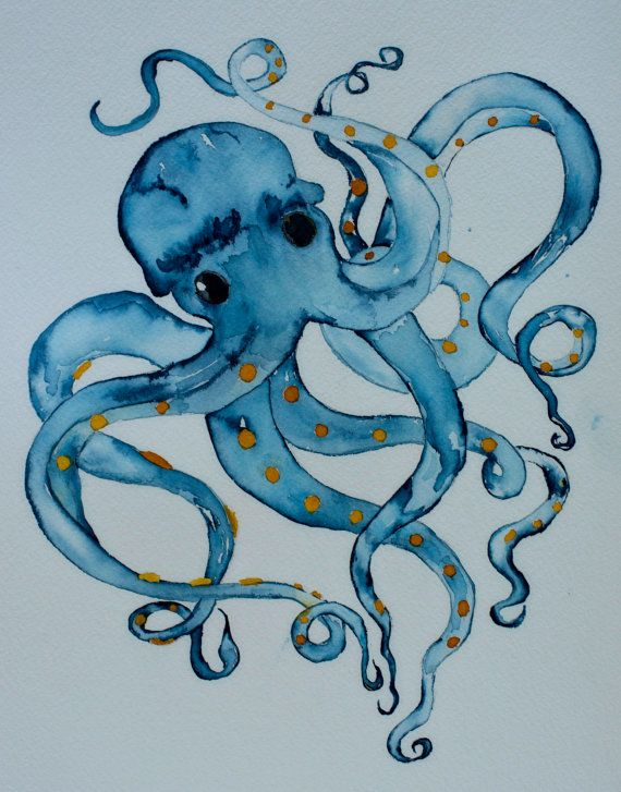 Nautical watercolor art blue octopus 8x10 signed PRINT by ssbaud