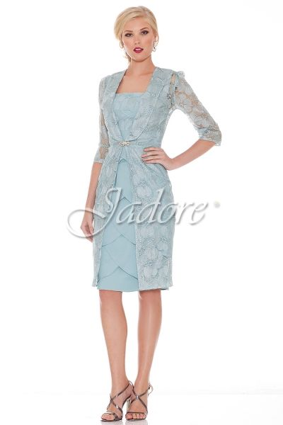 Jadore Cocktail Dress with scalloped skirt and lace bodice. Complimenting Lace Coat with 3/4 sleeves and diamante clasp  Colour Dove  Sizes 8, 10 roomy