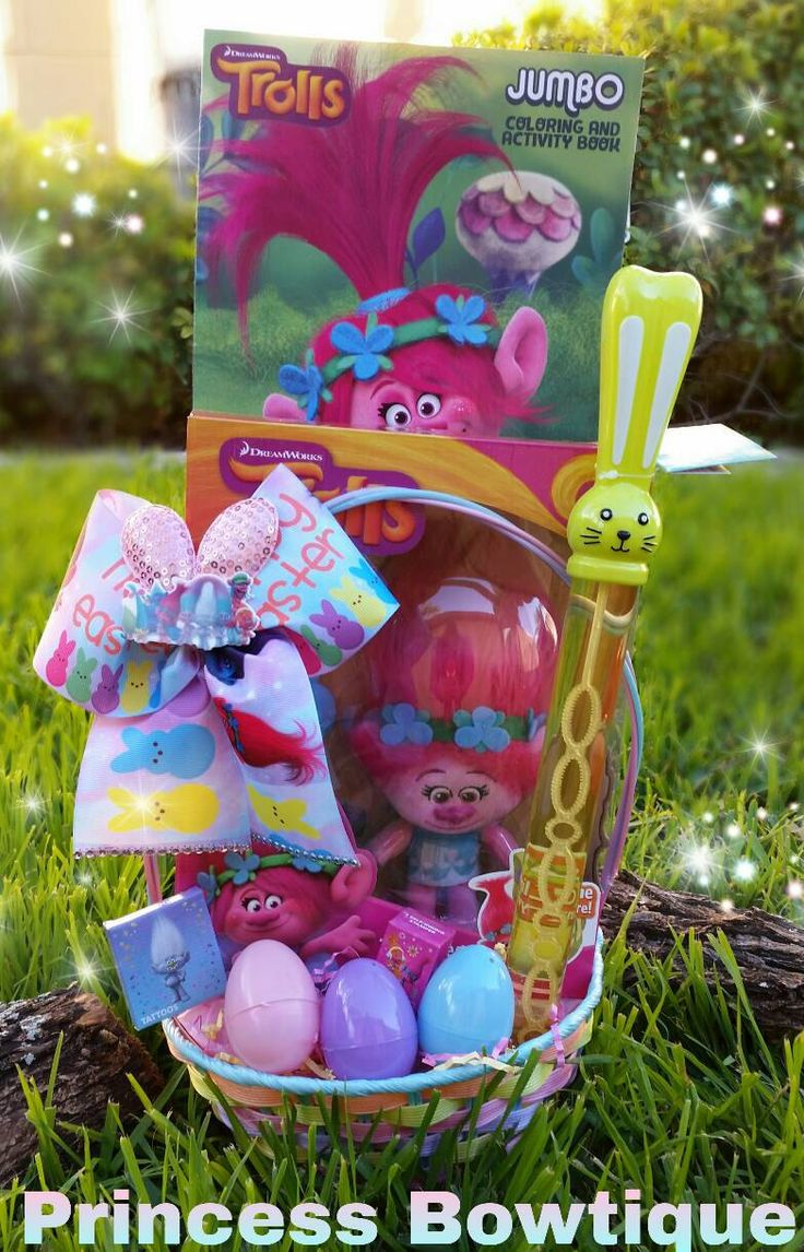 Trolls easter basket, trolls Easter basket filled, trolls bows, trolls crafts, trolls baskets, trolls Easter by PrincessTutusJewerly on Etsy https://www.etsy.com/listing/500064984/trolls-easter-basket-trolls-easter