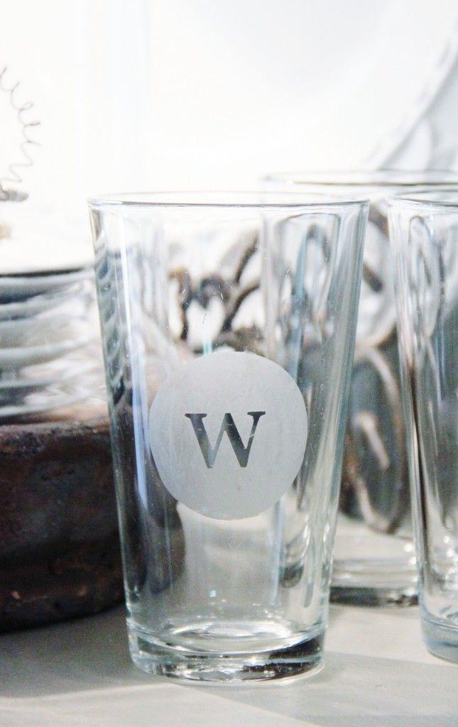 How to monogram (dollar store) glasses. So easy to do! This is my next project