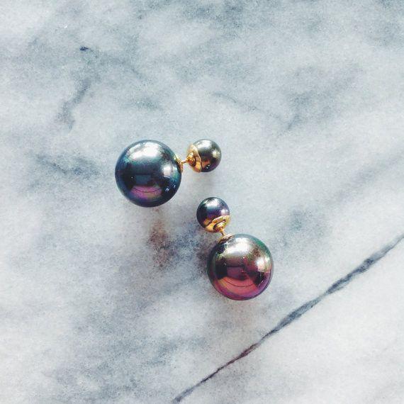 Double Pearl Earring in Onyx