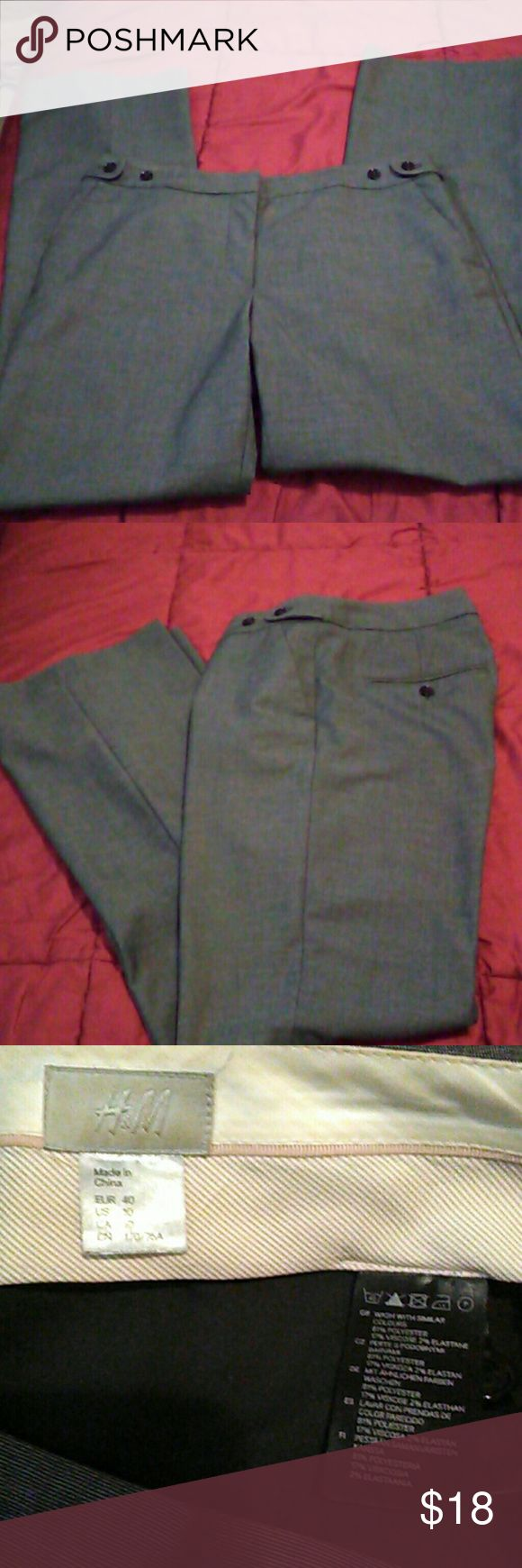 """NWOT/H&M/ Trousers Size 10/ Lovey light weight gray pants 81% polyester 17% rayon 2% spandex. Do not wrinkle easily. Comes with 3 extra buttons. Inseam 32"""" button adjustable waistband. Waist 36"""" can stretch to 37"""" H&M Pants Trousers"""