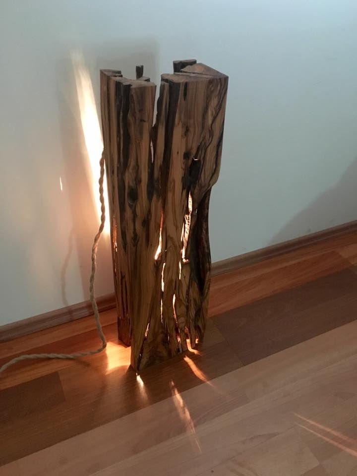 Doğal çatlaklara sahip zeytin ağacı kütüğünden 75CM'lik Volca lambader