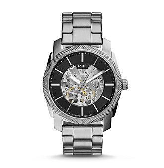 Fossil® Men's Silvertone Machine Automatic Watch with Link Bracelet