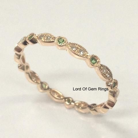 Pave Emerald Diamond Wedding Band Eternity Anniversary Ring 14K Rose Gold Art Deco Antique - Lord of Gem Rings - 1