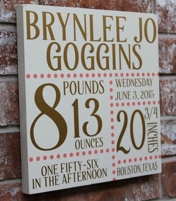 Custom Birth Announcement  Wooden sign hand painted white