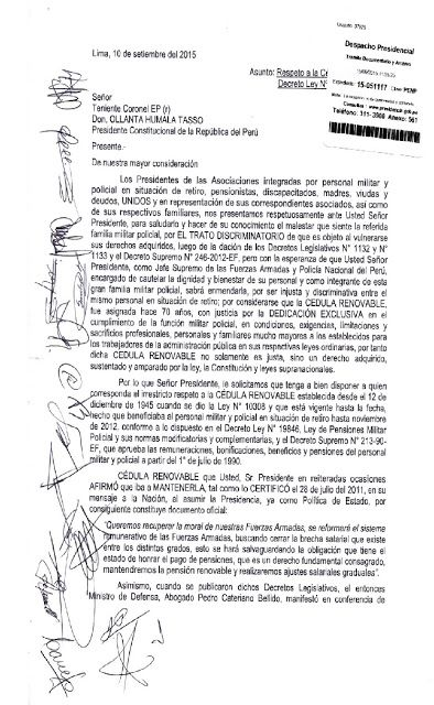 XVI PROMOCIÓN DE OFICIALES DEL INSTITUTO DE ALTOS ESTUDIOS POLICIALES: CARTA DE LAS ASOCIAICIONES DE LAS FFAA Y PNP AL PR...
