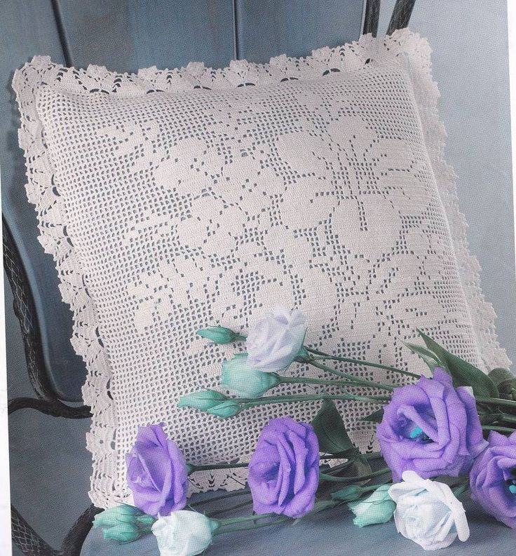 Crochet pillow, filet work ♥LCP-MRS♥ with diagram
