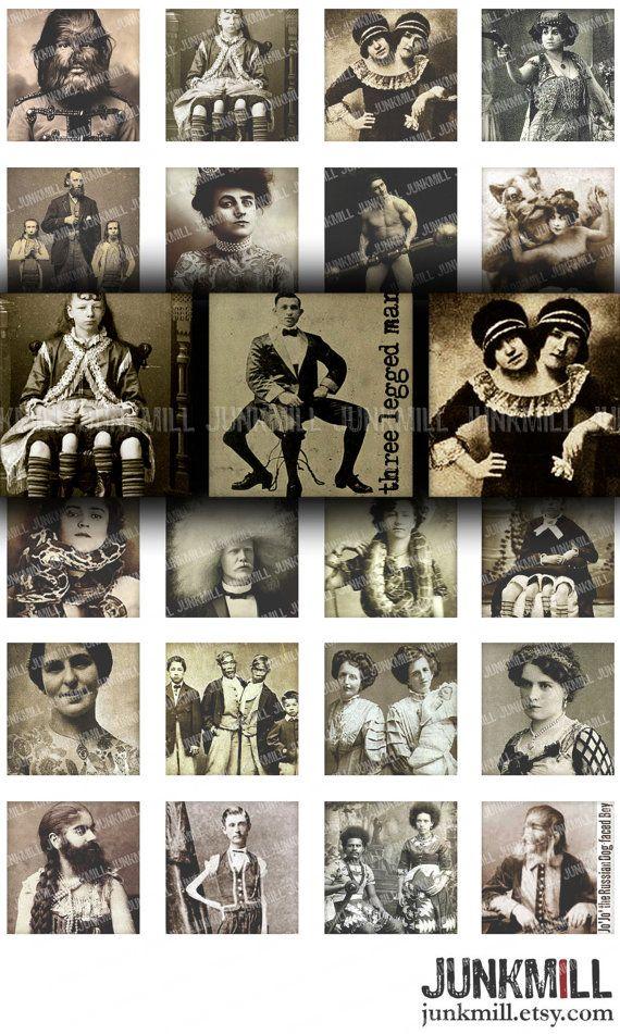 HUMAN ODDITIES  Digital Printable Collage Sheet  by JUNKMILL, $3.95