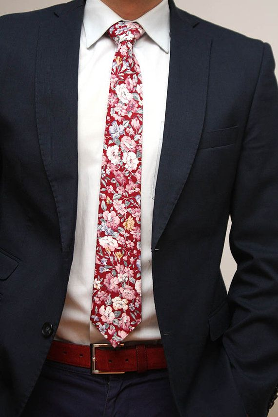 Mens Tie Floral Handmade Cotton Men's necktie by BoomBowTie