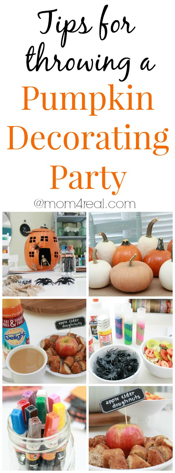 Tips for throwing a Pumpkin Decorating Party and tons more pumpkin decorating ideas at mom4real.com