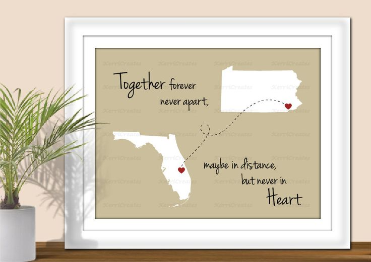 State Art, Together Forever Never Apart, Maybe in Distance but Never in Heart - Digital Wall Art. Hearts over City. Printable PDF or JPEG. by KerriCreates on Etsy