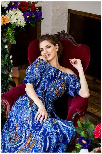 """Купить Платье """"Магия Востока"""" - разноцветный, пейсли, платье в пол, сарафан из хлопка, летнее настроение"""