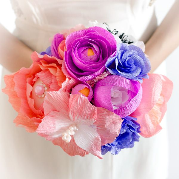 Product ID: BC0012We custom make beautiful colorful bridal bouquets. Paper flower bouquets are very suitable for religious or civil ceremony. Keep forever the memory of the most beautiful moment of your life!All our products are handmade.This bouquet can be done in medium or large size.For prices please send me an email with the product ID at hello@thediywedding.comImpress! Be unique! Be creative!We believe we can help you have the most amazing wedding! Call us!