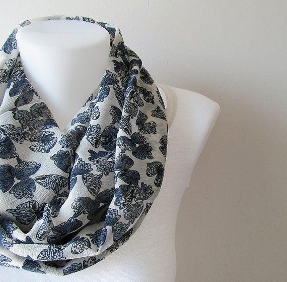 Butterfly Pattern Infinity Scarf White Navy Blue Crinkle