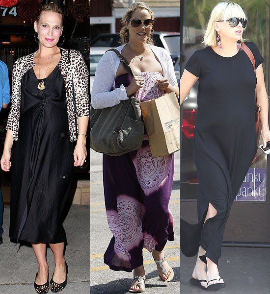 Pregnant Celebrities in Maxi Dresses: Molly Sims outside Rummage in LA on April 18, 2012; Elizabeth Berkley out and about in Brentwood, CA on May 25, 2012; Anna Faris leaves a wax salon in LA on August 7, 2012