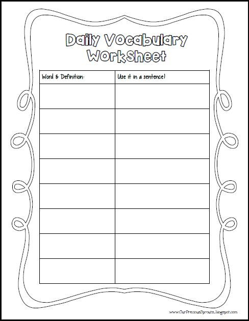 Our Precious Sprouts\u0027 Homeschool Journal Daily Vocab Worksheet