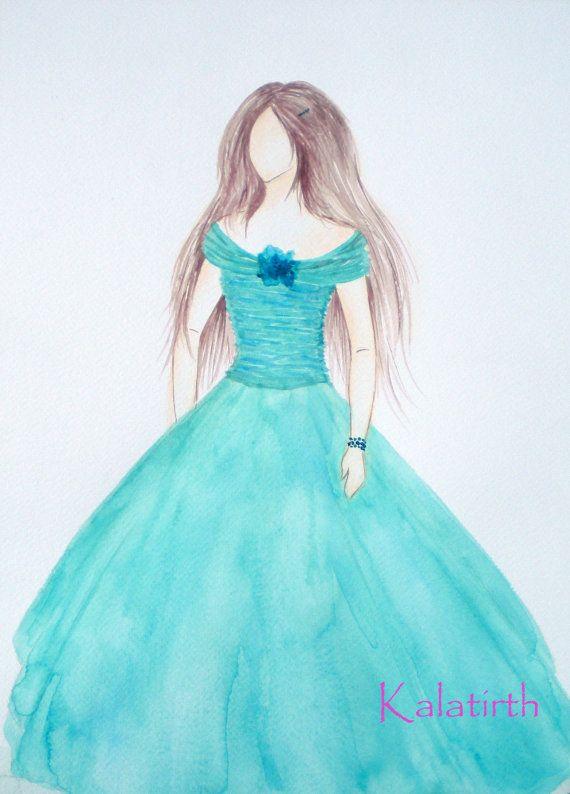 Fashion illustration in watercolor  Chiffon in Aqua by Kalatirth, $50.00