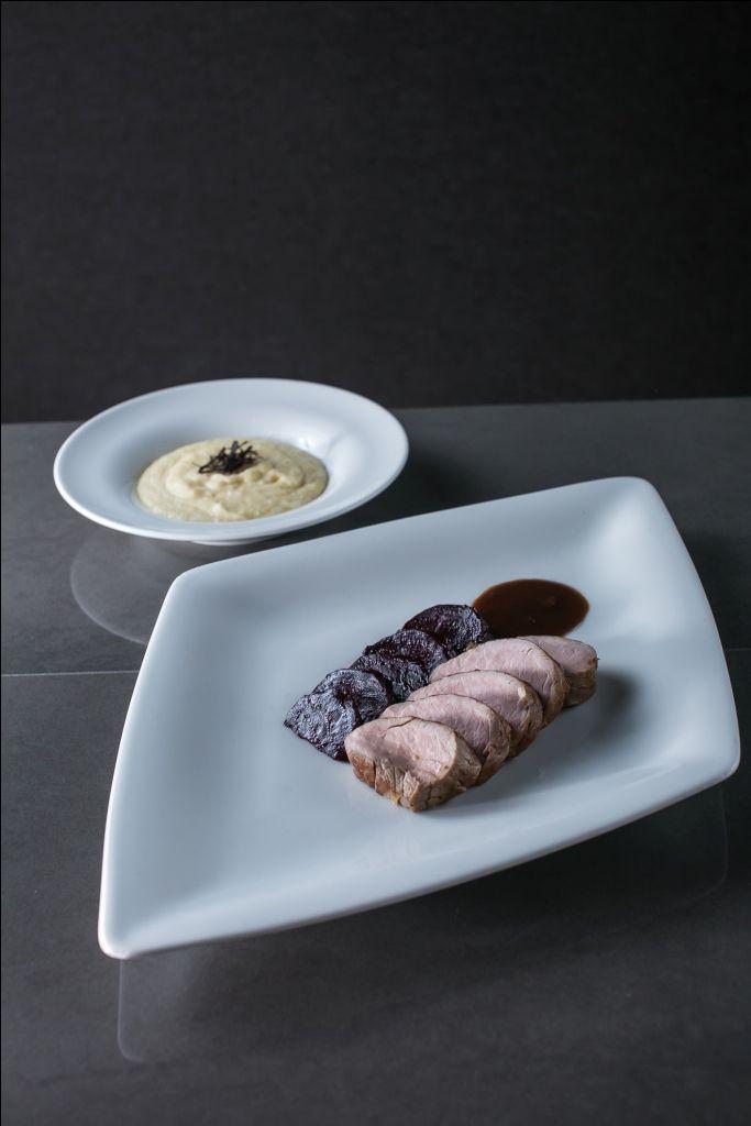 Tenderloin of Mangalitza (Hungarian pork) with polenta and fried beetroot