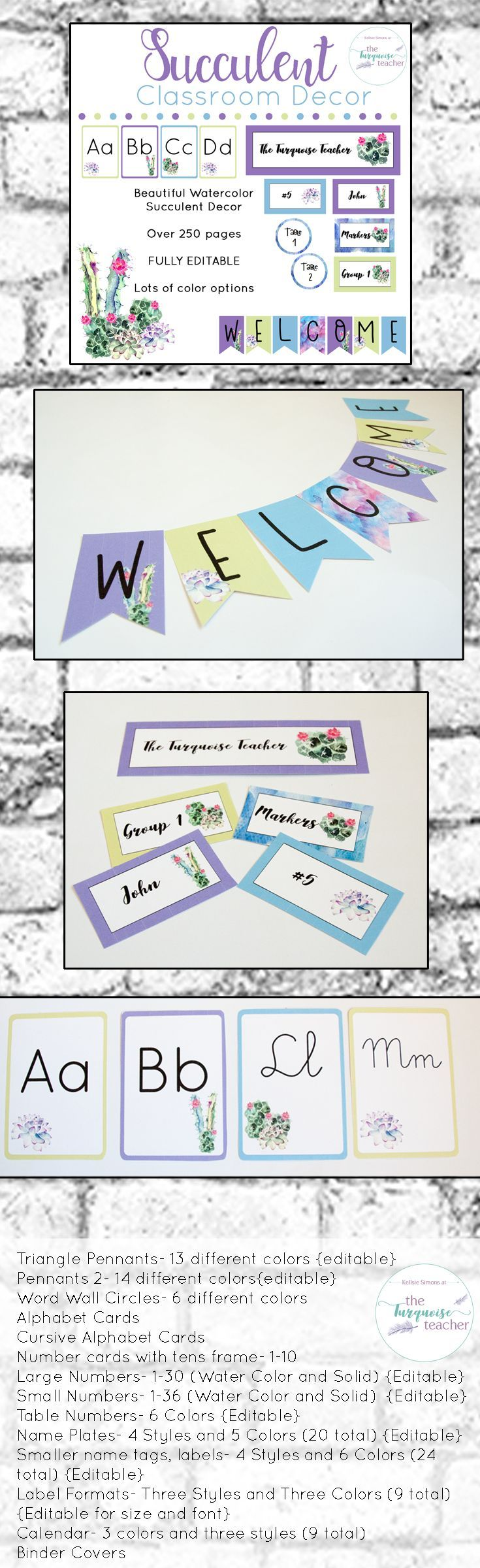 Watercolor Succulent Cactus Classroom Decor Theme   Fully Editable This set comes with so many different colors and styles for you to customize your classroom ( over 250 pages! ). All templates come in an editable format to make your own names tags, locker tags, labels, signs, class posters, banners and more! Mix water color and solid colors together to make a classroom uniquely you.