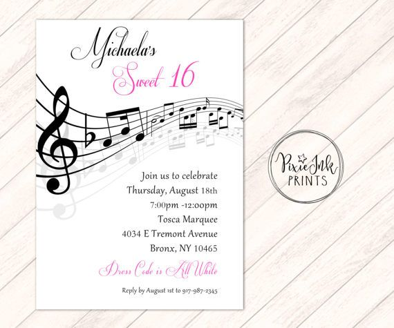 41 best sweet 16 invitations images on pinterest sweet 16 music notes invitation musical party sheet music invitation stopboris Gallery