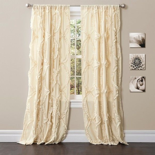 Ivory Avon Curtain Panel, 95 in. (1.205 ARS) ❤ liked on Polyvore featuring home, home decor, window treatments, curtains, pole pocket curtains, rod pocket curtain panels, ivory curtains, cream curtains and rod pocket panel