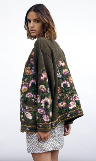 Vintage Floral Embroidered Woolen Cardigan