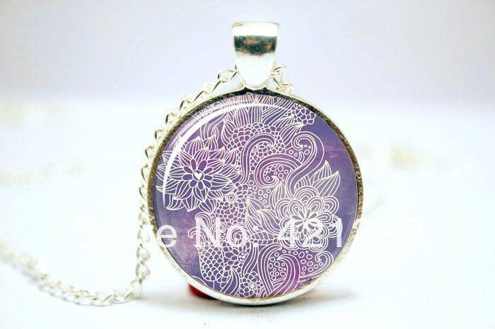 Ом ожерелье, Намасте йога ювелирные изделия, Лотоса дзэн кулон стекло кабошон ожерелье 2941
