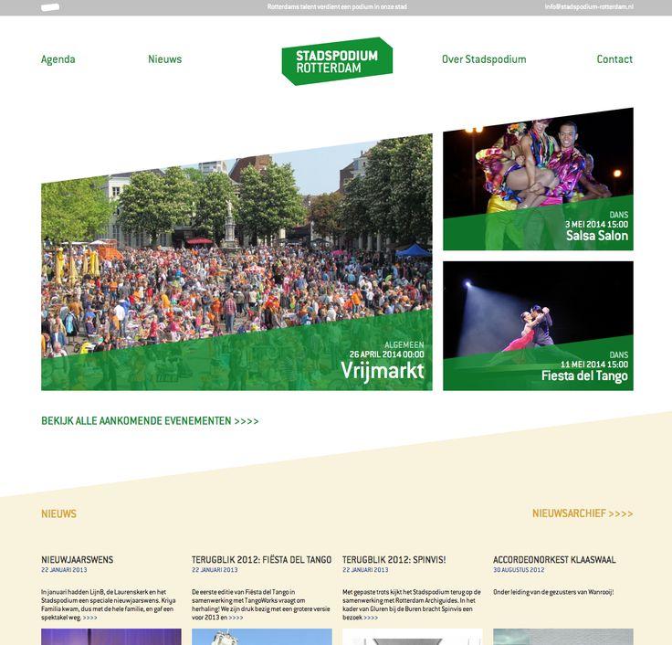Logo, huisstijl en website voor www.stadspodium-rotterdam.nl.